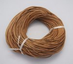 Leather cord, Round, Natural, 2mm