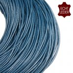 Leather cord, Round, DarkBlue, 2mm