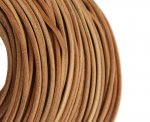 Leather cord, Round, Natural, 4mm